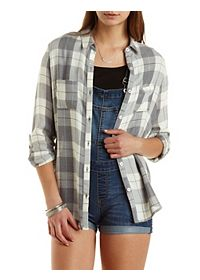 Flyaway Plaid Button-Up Tunic Top