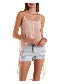 Embroidered Mesh & Chiffon High-Low Tank Top