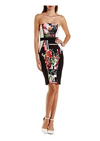 Abstract Floral Color Block Bodycon Dress