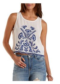 Embroidered Chiffon Swing Tank Top
