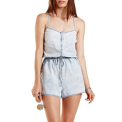 Strappy Acid Wash Chambray Romper