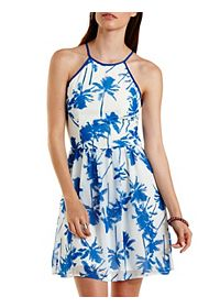 Tropical Print Strappy Halter Dress