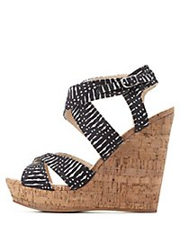 Printed Crisscross Strappy Wedges