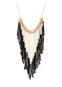 Beaded Fringe Statement Necklace