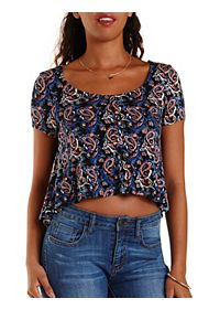 Paisley Caged Back Button-Up Swing Tee