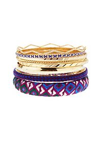 Embroidered Ribbon Bangles - 10 Pack