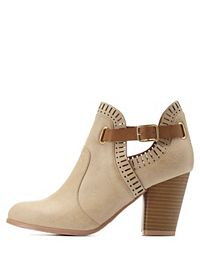 Qupid Laser-Cut Belted Ankle Booties