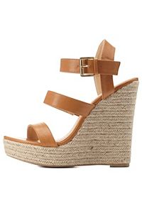 Three Band Espadrille Wedge Sandals