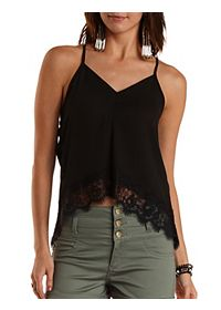 Lace-Trim Strappy High-Low Tank Top