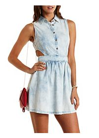 Acid Wash Cut-Out Chambray Shirt Dress