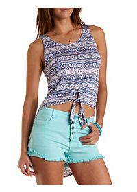 Printed Tie-Front High-Low Tank Top