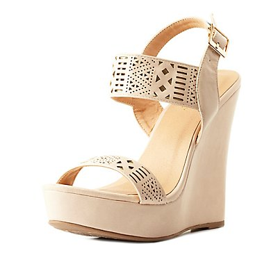 Contrast-Backed Laser-Cut Wedge Sandals