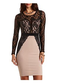 Lace & Scuba Knit Bodycon Dress