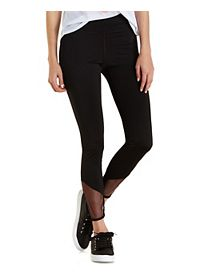 Mesh-Trim Active Capri Leggings