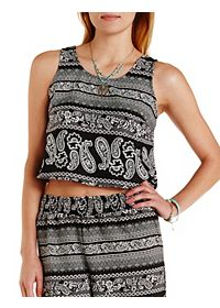 Buttoned Back Paisley Crop Top