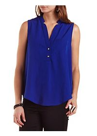 Sleeveless Button-Up Swing Top