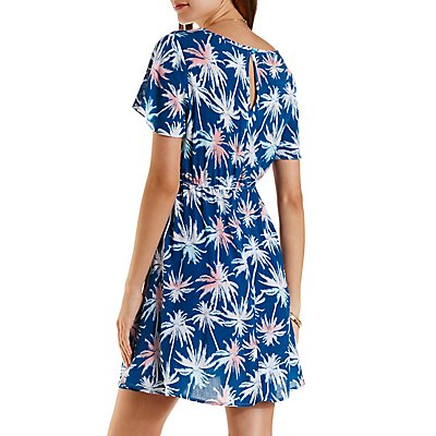 Tropical Print Short Sleeve Dress