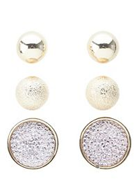 Ball & Pave Stud Earrings - 3 Pack