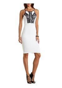 Lace-Trim Bodycon Midi Dress