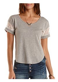 Embroidered Mesh-Trim High-Low Tee