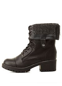 Sweater-Lined Fold-Over Combat Boots