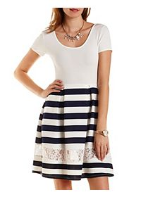 Lace Cut-Out Striped Skater Dress