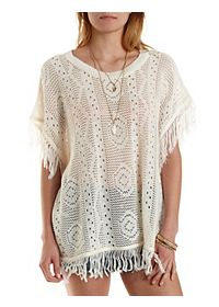 Pointelle Fringe Poncho Sweater