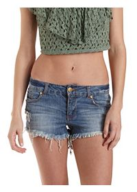 Destroyed Low-Rise Denim Shorts