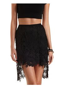 High-Low Floral Lace Skirt