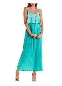Lace & Chiffon Pleated Maxi Dress
