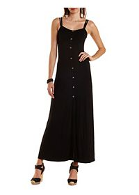 Button-Up Strappy Maxi Dress