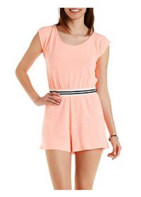 Striped-Waist French Terry Romper