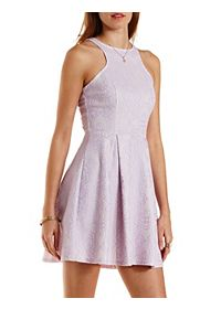 Racer Front Lace Skater Dress