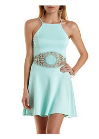 Racer Front Crochet Cut-Out Skater Dress