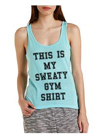 Gym Graphic Open Racerback Tank Top