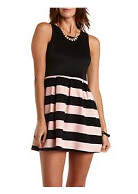 Striped & Pleated Skater Dress