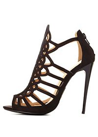 Laser Cut-Out Caged High Heels