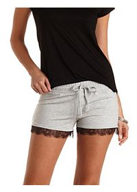 Lace-Trim French Terry Shorts