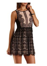 Nude-Lined Lace Skater Dress