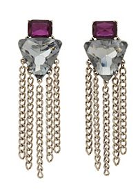 Faceted Stone & Chain Drop Earrings