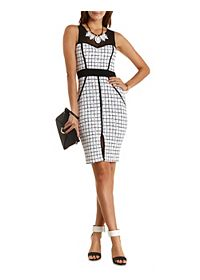 Mesh & Windowpane-Checked Bodycon Dress