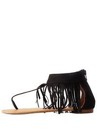 Fringe Ankle Cuff Thong Sandals