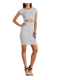 Windowpane-Checked Bodycon Dress