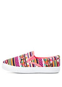Neon Tribal Print Slip-On Sneakers
