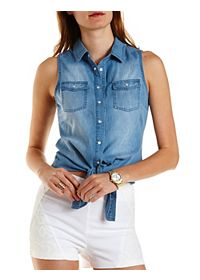 Knotted Button-Up Chambray Top