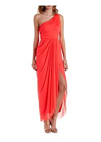 Ruched Mesh One Shoulder Maxi Dress