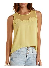 Embroidered Mesh & Chiffon Tank Top