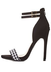 Qupid Gingham Single Strap Heels