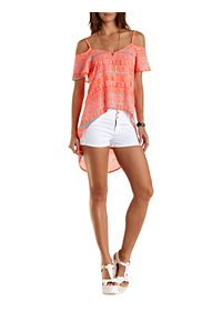 Printed Cold Shoulder High-Low Top