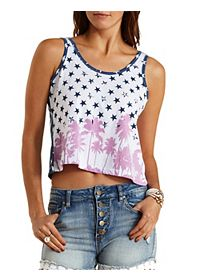 Patriotic Palm Tree Print Tank Top